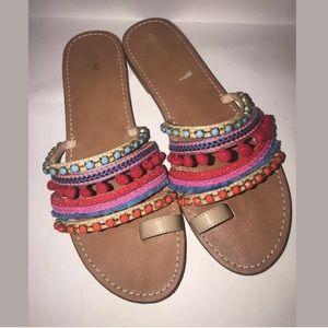 Mossimo Pom Pom Jeweled Slide Sandals